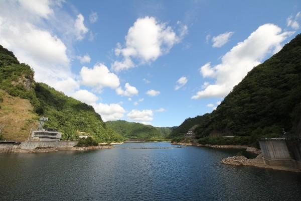 大島ダム(天端よりダム湖を望む)